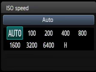 regolazione parametri ISO in una macchina fotografica digitale